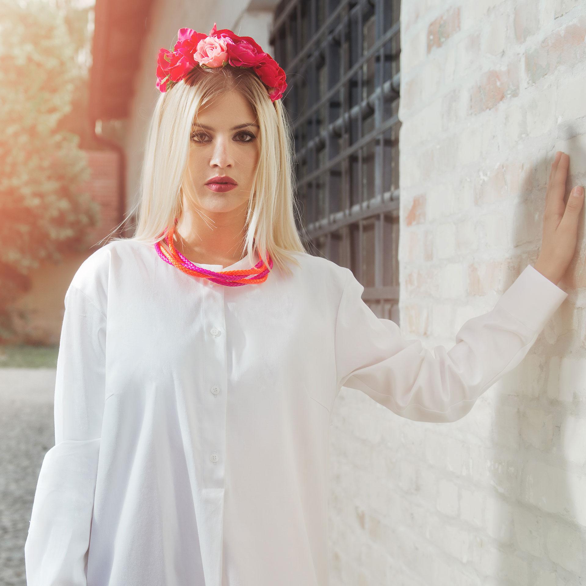 White long sleeve shirt dress with freedom print